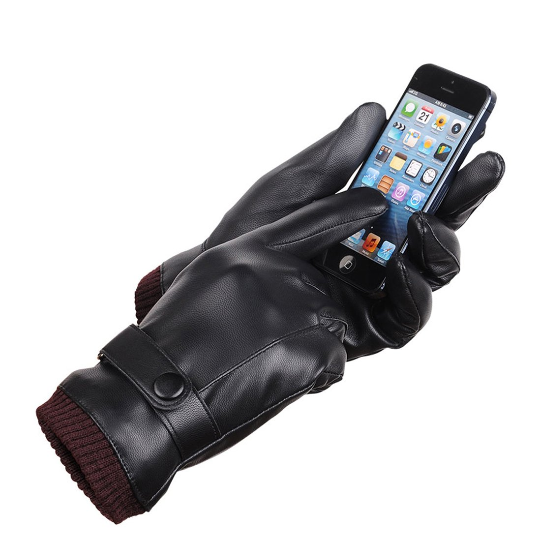 LAOWWO PU Leather Touchscreen Gloves Driving Gloves Black Winter Warm Gloves