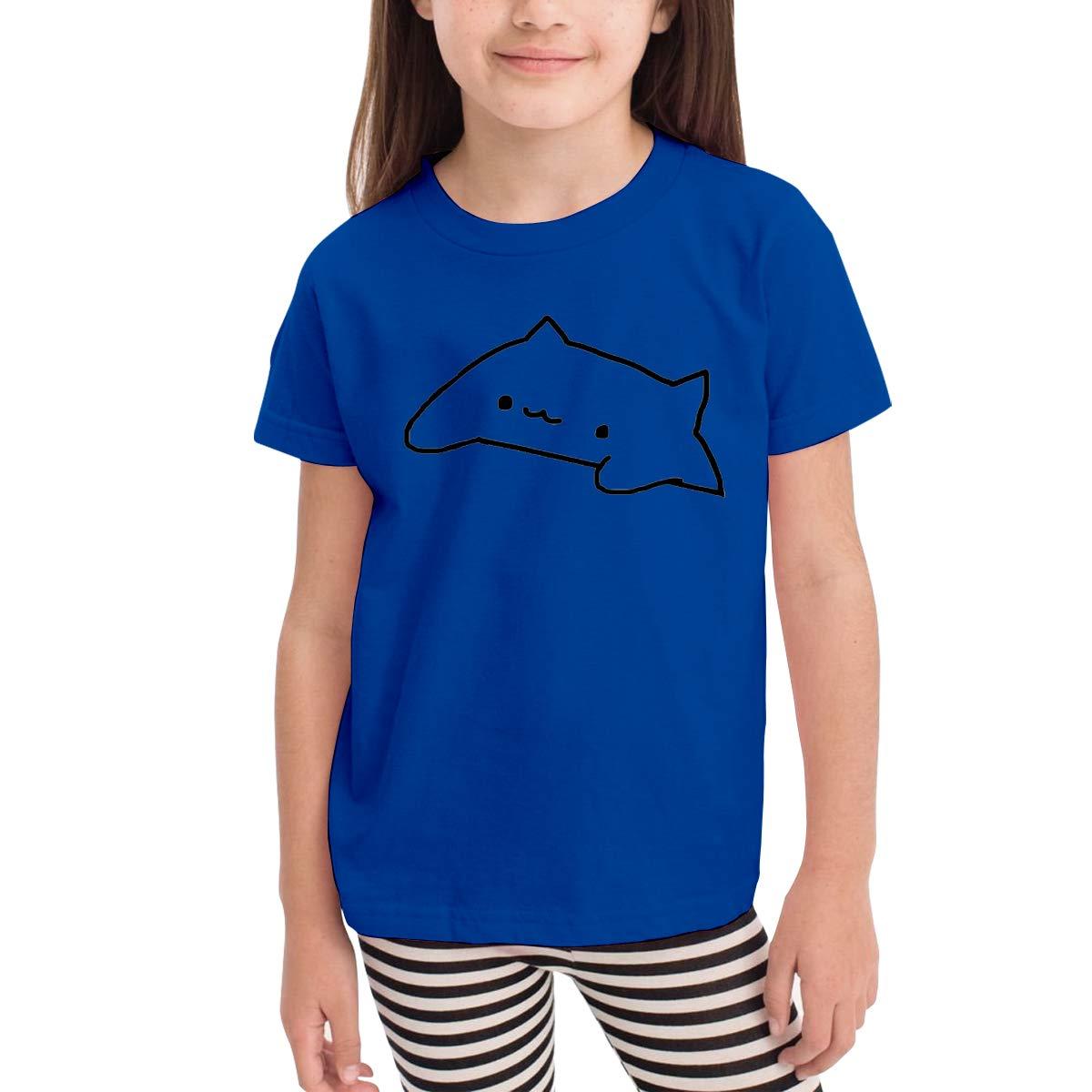 Kids T-Shirt Tops Gray Cute Bongo Cat Unisex Youths Short Sleeve T-Shirt