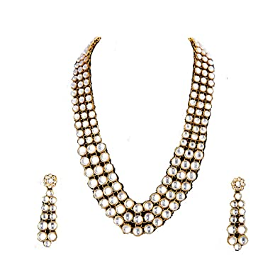 e72e29919 Buy Zeneme Gold Plated Traditional Jewellery Kundan Pearl Necklace Set with  Earrings for Women (White) Online at Low Prices in India