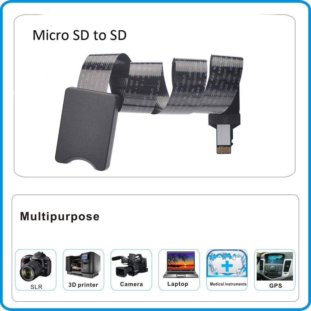 OUSHE 48cm Micro SD to SD Extension Cable Flexible 4 8 16 32GB TF Memory Card Reader Adapter Extender Cord SDHC//RS-MMC for MacBook//Kindle//Raspberry Pi//Camera//Arduino//3D Printer//Monitoring System//TV