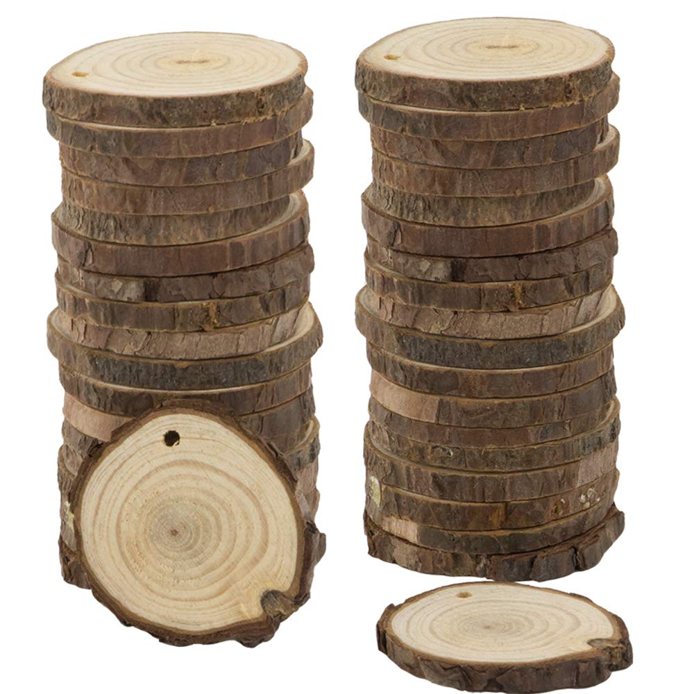 CEWOR 68pcs 2.4-2.7 Unfinished Predrilled Natural Wood Slices with Holes Craft Wood and 33Ft Jute Twine