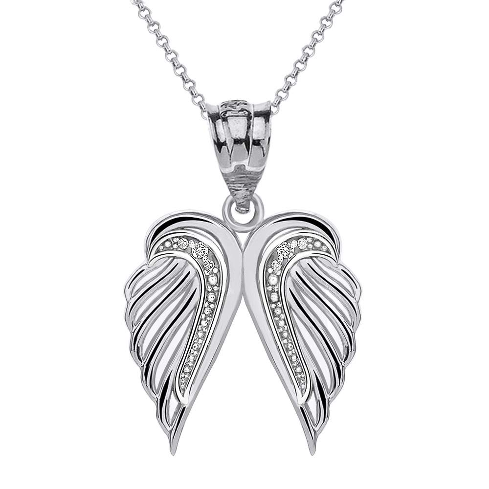 CaliRoseJewelry Sterling Silver Silver Feather Dainty Angel Double Wing Cubic Zirconia Pendant Necklace
