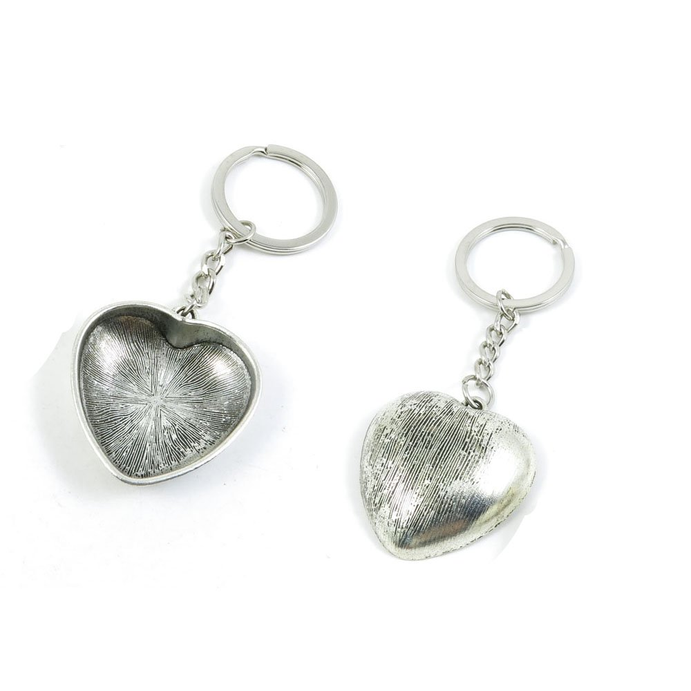 100 PCS Love Heart Keychain Keyring Jewelry Making Charms Door Car Key Tag Chain Ring U3NN2W