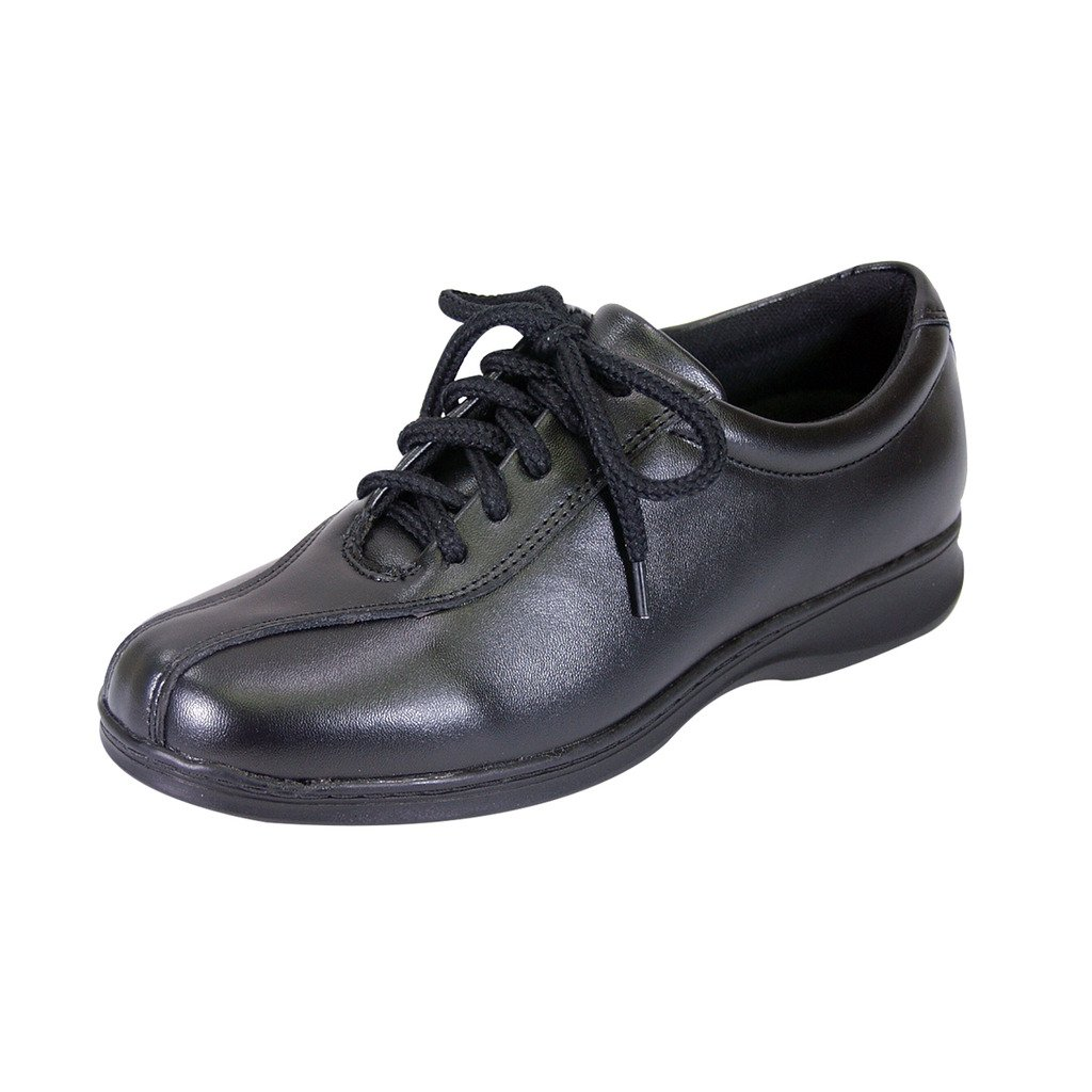 24 Hour Comfort  Valerie Women Extra Wide Width Lace up Shoes Black 9.5