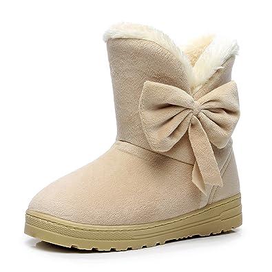 Fortuning's JDS Señoras de las mujeres Invierno impermeable antideslizante peludo terciopelo termal de algodón botas madre zapatos botas para la nieve nL7LU