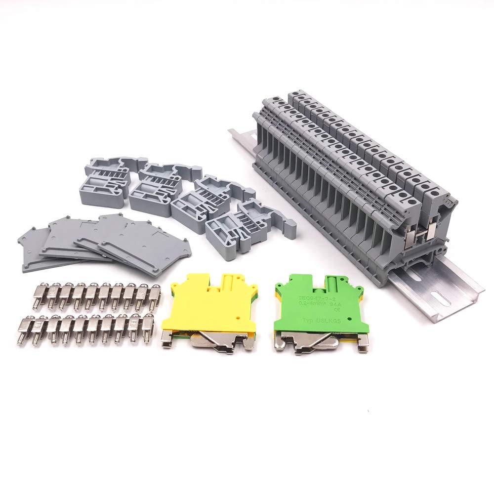 Erayco DIN Rail Terminal Blocks Kit, 20Pcs UK5N 10 AWG Terminal Blocks, 2Pcs Ground Blocks, 2Pcs Terminal Fixed Bridge Jumpers, 4Pcs E/UK End Brackets, 2Pcs D-UK3/10 End Covers, 1Pcs 8'' Aluminum RoHS
