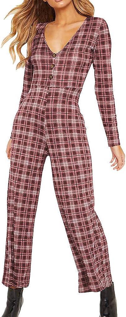 JERFER Combinaison Femme Longue Robe de Vacances Longue /à Manches Longues en v Profonde Combi-Pantalon Jumpsuit Rompers