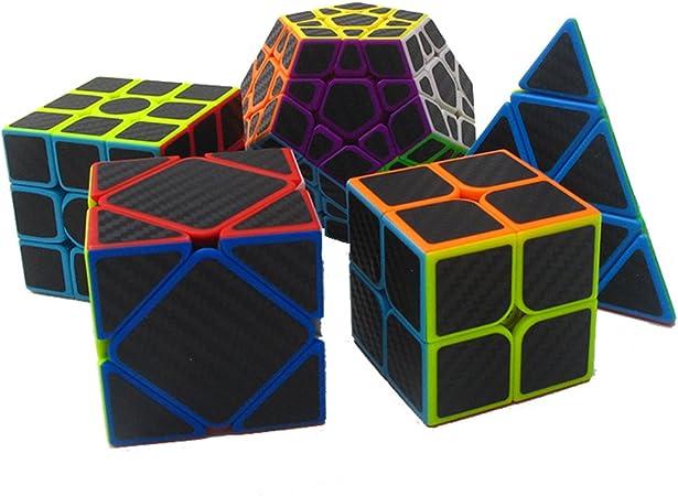 MZStech Cubo mágico Juego de 5 Pack Incluye Meganminx + Skewb + Pyraminx + 2x2x2 + 3x3x3 Fibra de Carbono Sticker Puzzle Cube Black: Amazon.es: Juguetes y juegos