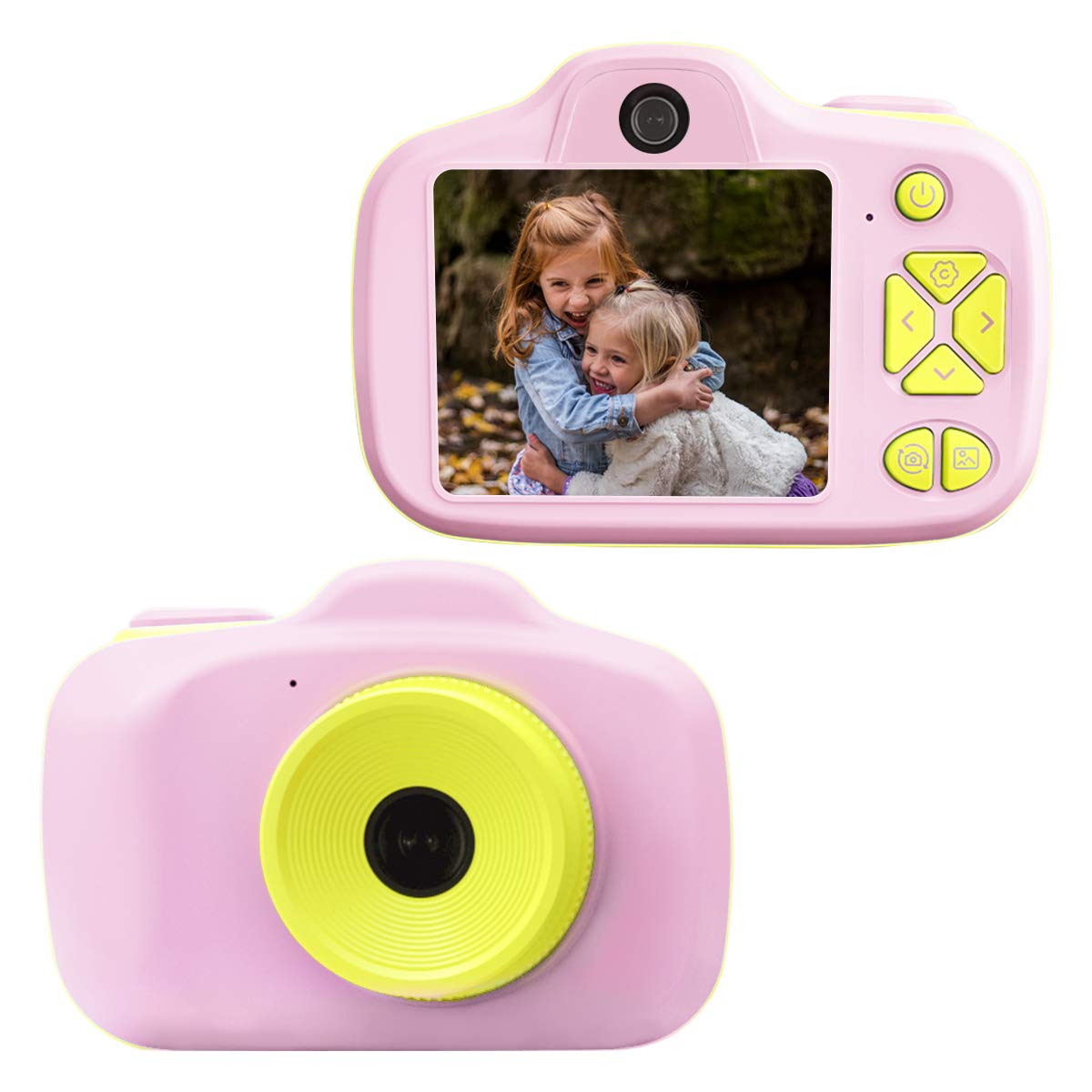 Joytrip Video Camera for Kids Gifts HD 2.3 Inches Screen 8MP Kids Digital Camera for Girls Shockproof Children Selfie Toy Camera Mini Child Camcorder for Age 3-10 with Safe Material (Pink-Yellow)