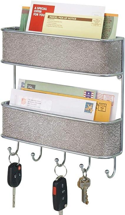Gazechimp Porte-courrier Porte-cl/és Mural en Bois 3 Etages pour Rangement M/émos Lettres Prospectu Cl/és