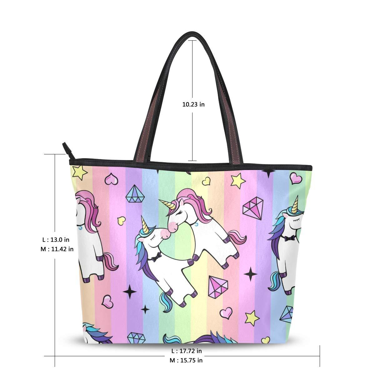 Tote Bag Valentines Day Unicorn Heart Rainbow Handbag Satchel with Shoulder Length Handles for Women