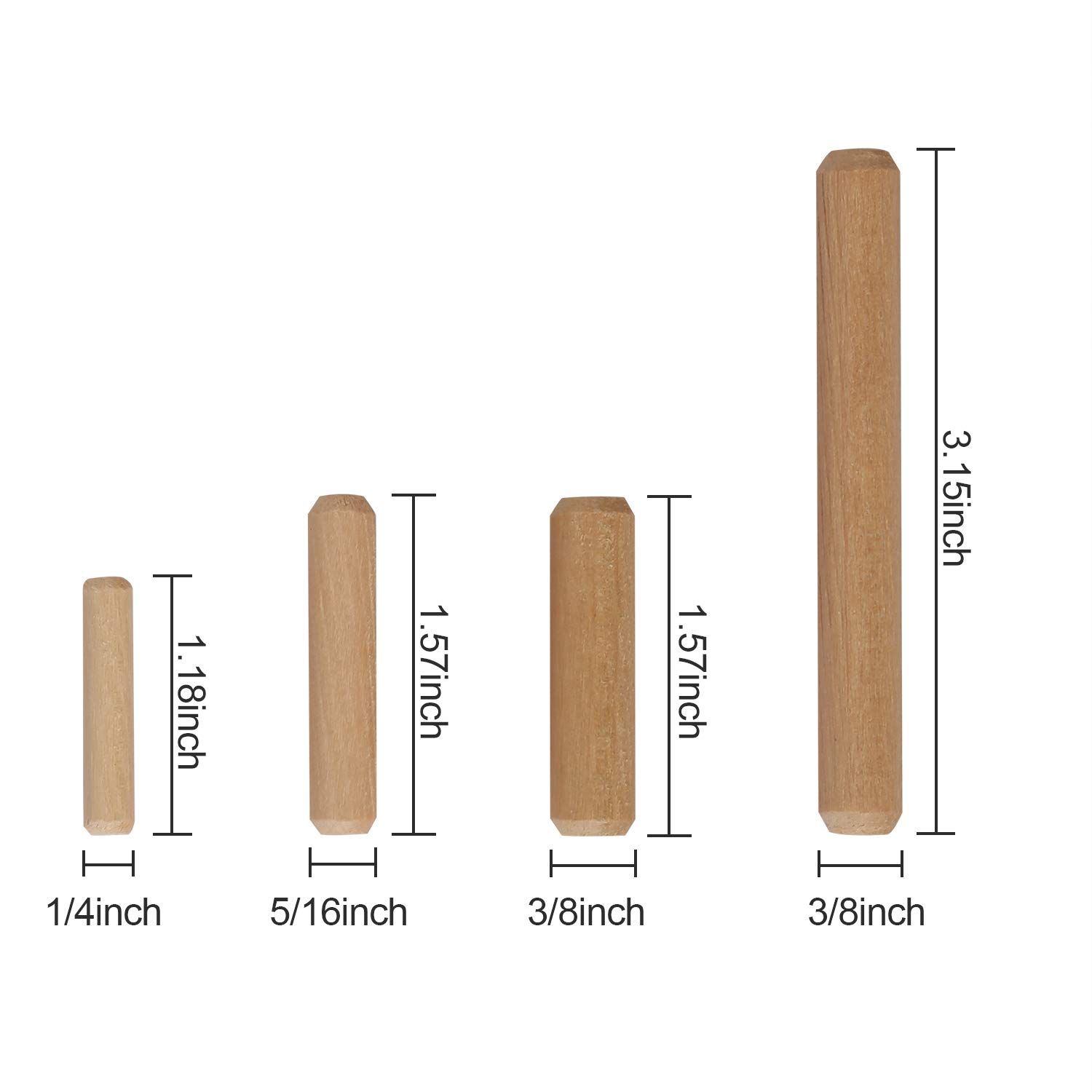 3//8 Inch 6mm 8mm 10mm Diameter Wooden/Dowel/Pins KEILEOHO 1000 PCS 1//4 Sturdy and Durable Fluted Dowel/Pins Upgraded Dowel Pins for Furniture Connection or Repair Model Building 5//16