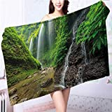 Miki Da Soft Luxury Towel Waterfalls side Valley in Indonesia with Asian Bushes above the Hills Green and Brown for Home, Hotel and Spa L39.4 x W19.7 INCH