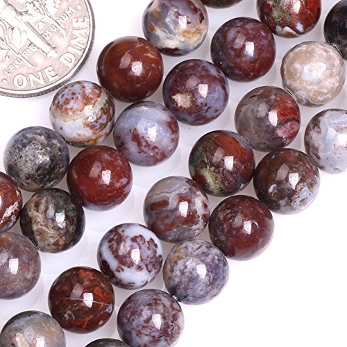 GEM-inside Natural Genuine 8mm Round Blood Stone Agate Beads for Jewelry Making Strand 15
