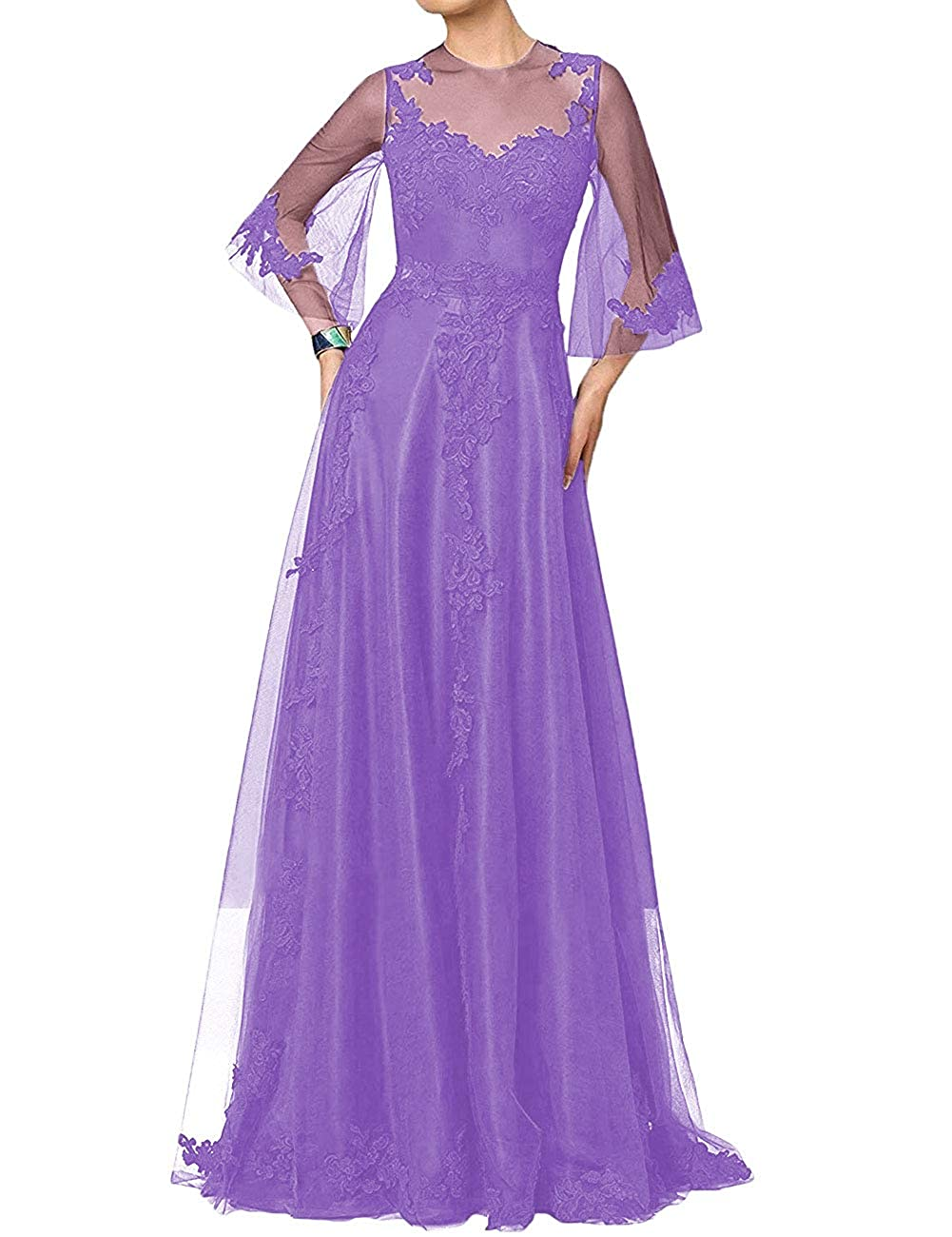Lavender H.S.D Mother of The Bride Dress Aline Mother Dresses Long Prom Evening Gowns Sleeve
