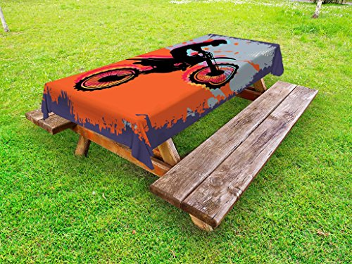 Lunarable Dirt Bike Outdoor Tablecloth, Grunge Composition of a Biker in a Stunt Move Cross Country Tournament Theme, Decorative Washable Picnic Table Cloth, 58 X 84 Inches, Multicolor (Bike Dirt Cloths)