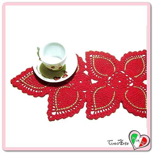 Rechteckig Rot Und Gold Häkeln Deckchen Für Weihnachten Aus
