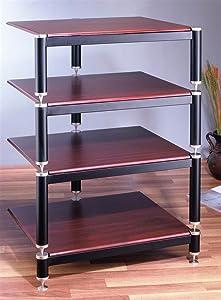 VTI BL Series 4-Shelf Audio Rack-Silver/Black/Cherry - Silver/Black/Cherry