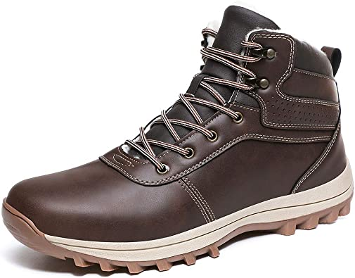 Quickshark Mens Snow Boots Water Resistant Winter Sneakers Outdoor Non-Slip Hiking Shoes Fur Lining(10 US = EU 45, 2-Dark Brown)