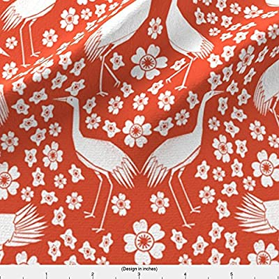 Crane Fabric Cranes - Red/White By Andrea Lauren by Andrea Lauren Printed on by the Yard by Spoonflower