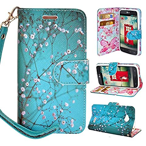 LG OPTIMUS L70 Case, Magnetic Closure Leather Flip Wallet Case with 2 Card Slots, Cash Compartment and Wrist Strap for Optimus Exceed 2 W7/ LS620 Realm/ L41C Ultimate 2 Wallet Case (Blossom (Ultimate Android Smartphone)