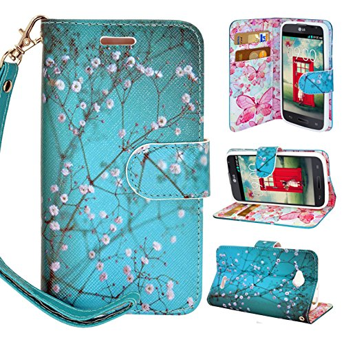 LG OPTIMUS L70 Case, Magnetic Closure Leather Flip Wallet Case with 2 Card Slots, Cash Compartment and Wrist Strap for Optimus Exceed 2 W7/ LS620 Realm/ L41C Ultimate 2 Wallet Case (Blossom Green)