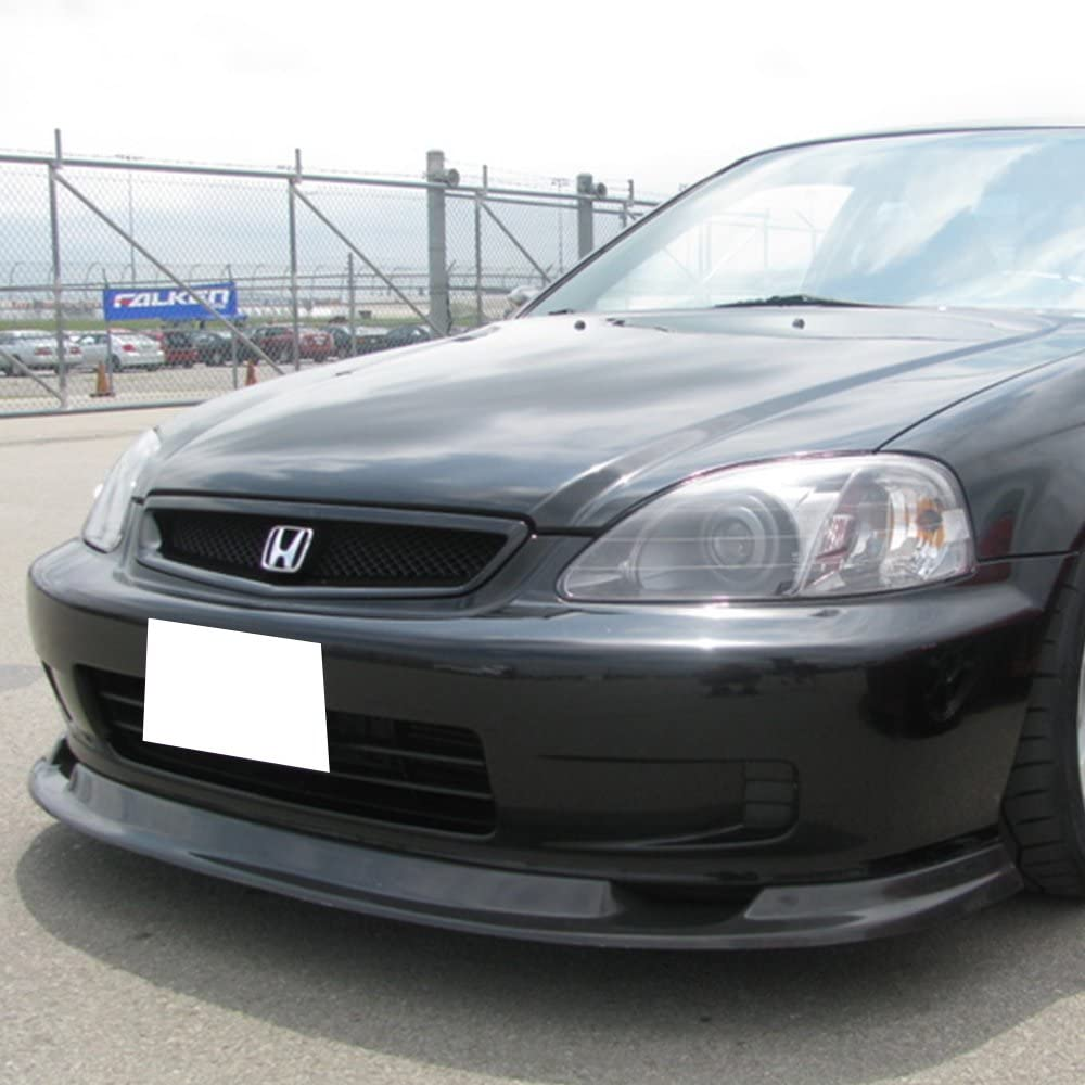 FM Style Black PU Front Lip Finisher Under Chin Spoiler Air Dam Chin Diffuser Add On by IKON MOTORSPORTS Front Bumper Lip Compatible With 1999-2000 Honda Civic