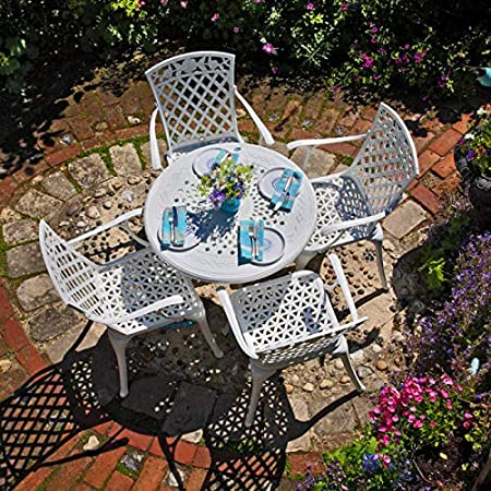 Anna Mesa de Jardín y 4 Sillas Rose en Blanco sin Cojines   Lazy Susan Muebles de Jardín: Amazon.es: Hogar