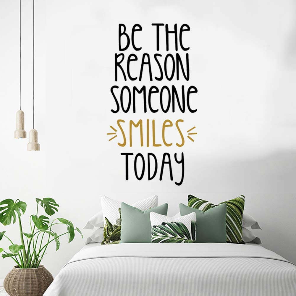 Inspirational Wall Quotes Decals, Motivational Wall Decal, Inspirational Wall Stickers, Encouragement Stickers,Be The Reason Someone Smiles Today,DIY Decorations for Bedroom Girls Room Classroom Decor