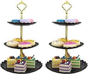 LIONWEI LIONWELI 3-tier Black Gold Plastic Dessert Stand Pastry Stand Cake Stand Cupcake Stand Holder Serving Platter for Party Wedding Home Decor-Small-set of 2