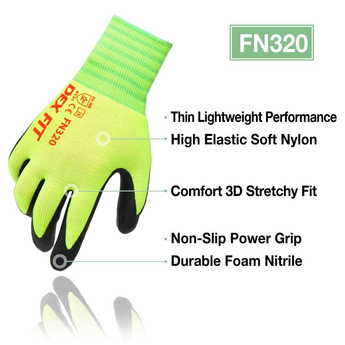 Gants Jardinage Anti Coupure Level A2 CR533 Mousse Nitrile Durable 3D Comfort Stretch Fit Mince Lavable en machine Smart Touch Gris Petit 3 Pairs Power Grip