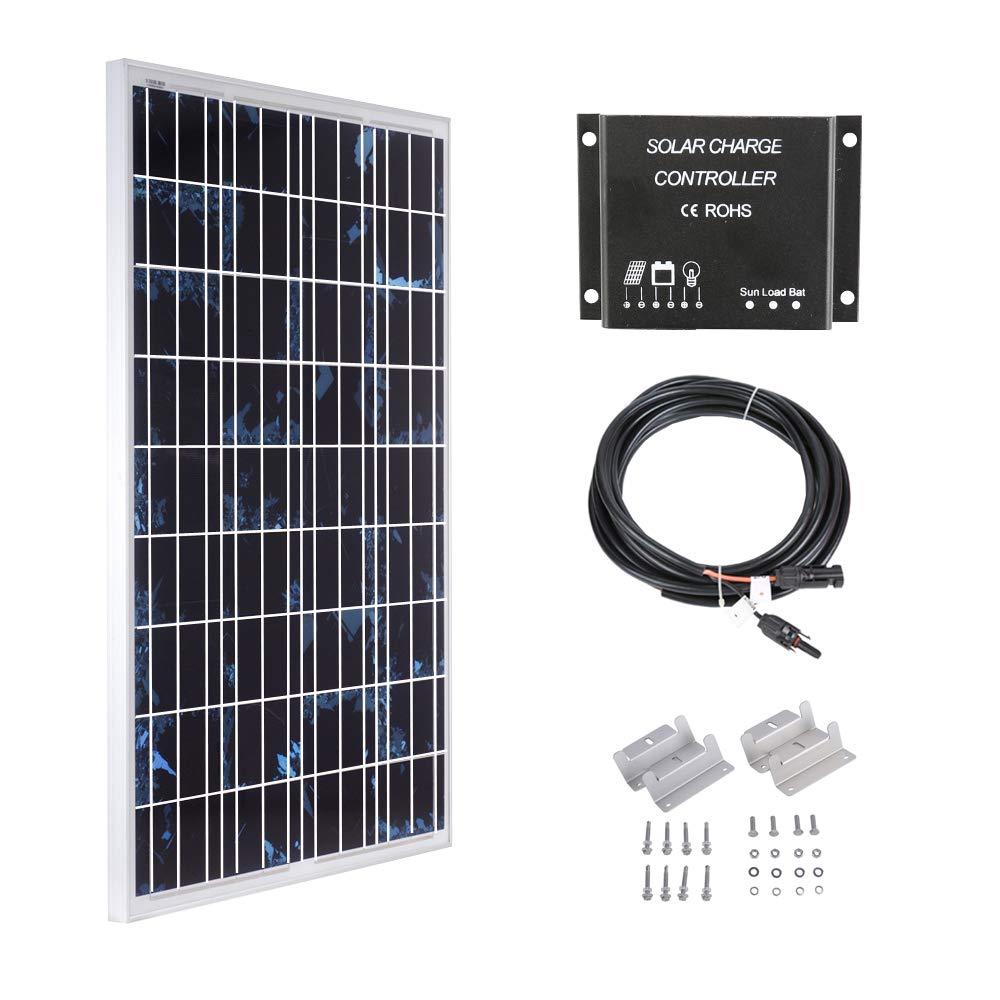 Betop-camp Kit de Paneles Solares Policristalinos de 100W 12V Panel Solar Policristalino de 100W + Controlador de Carga de luz LCD de 10A + Cable Adaptador de 3m