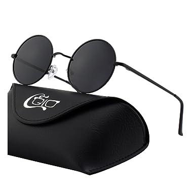 030c4c5915f31 CGID E01 Small Retro Vintage Style Lennon Inspired Round Metal Circle  Polarized Sunglasses for Women and Men  Amazon.co.uk  Clothing