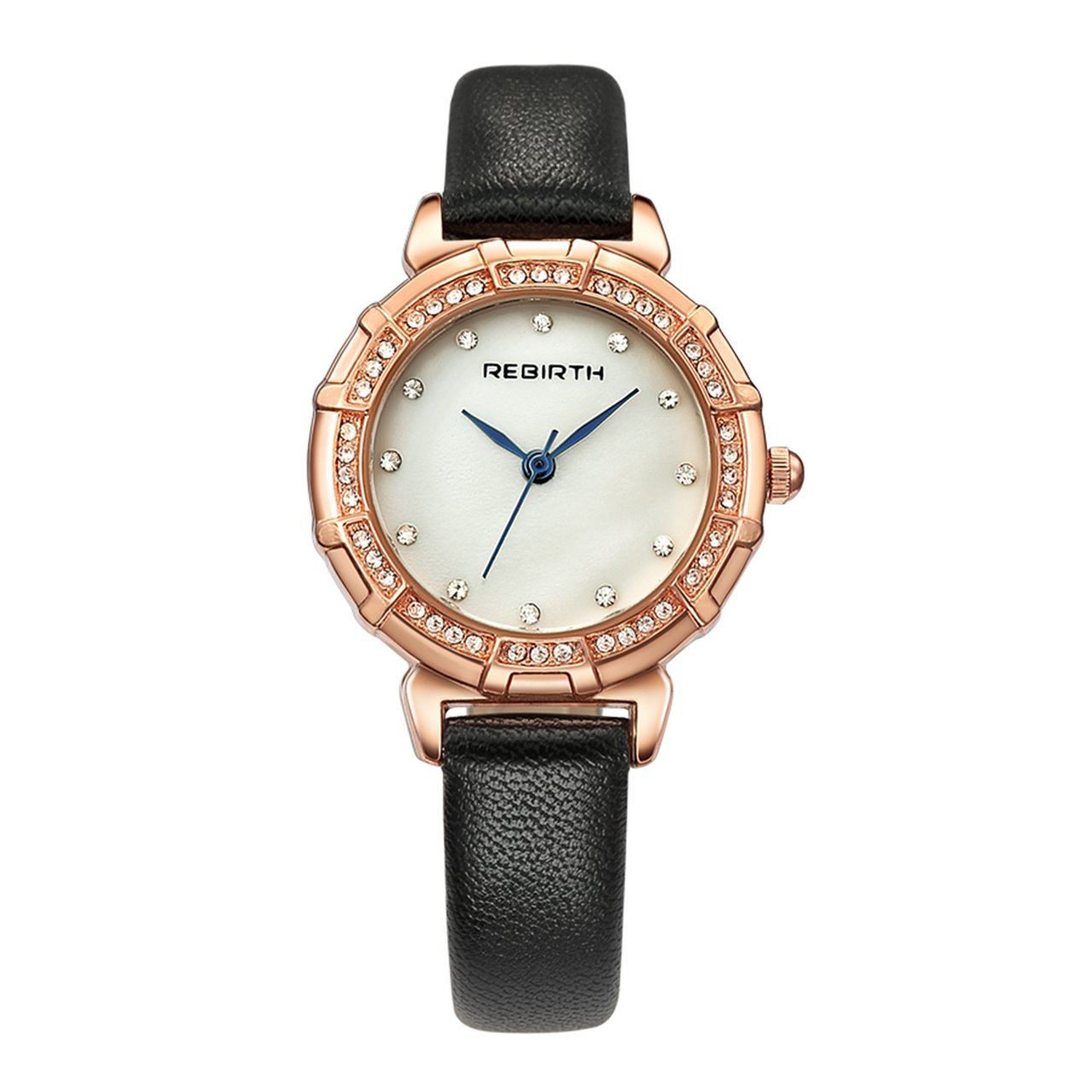 Top Plaza Womens Black Luxury Crystal Dress Watch - Analog Quartz PU Leather Crystal Shell Dial Crystal Accented Gold Alloy Case Daily Waterproof