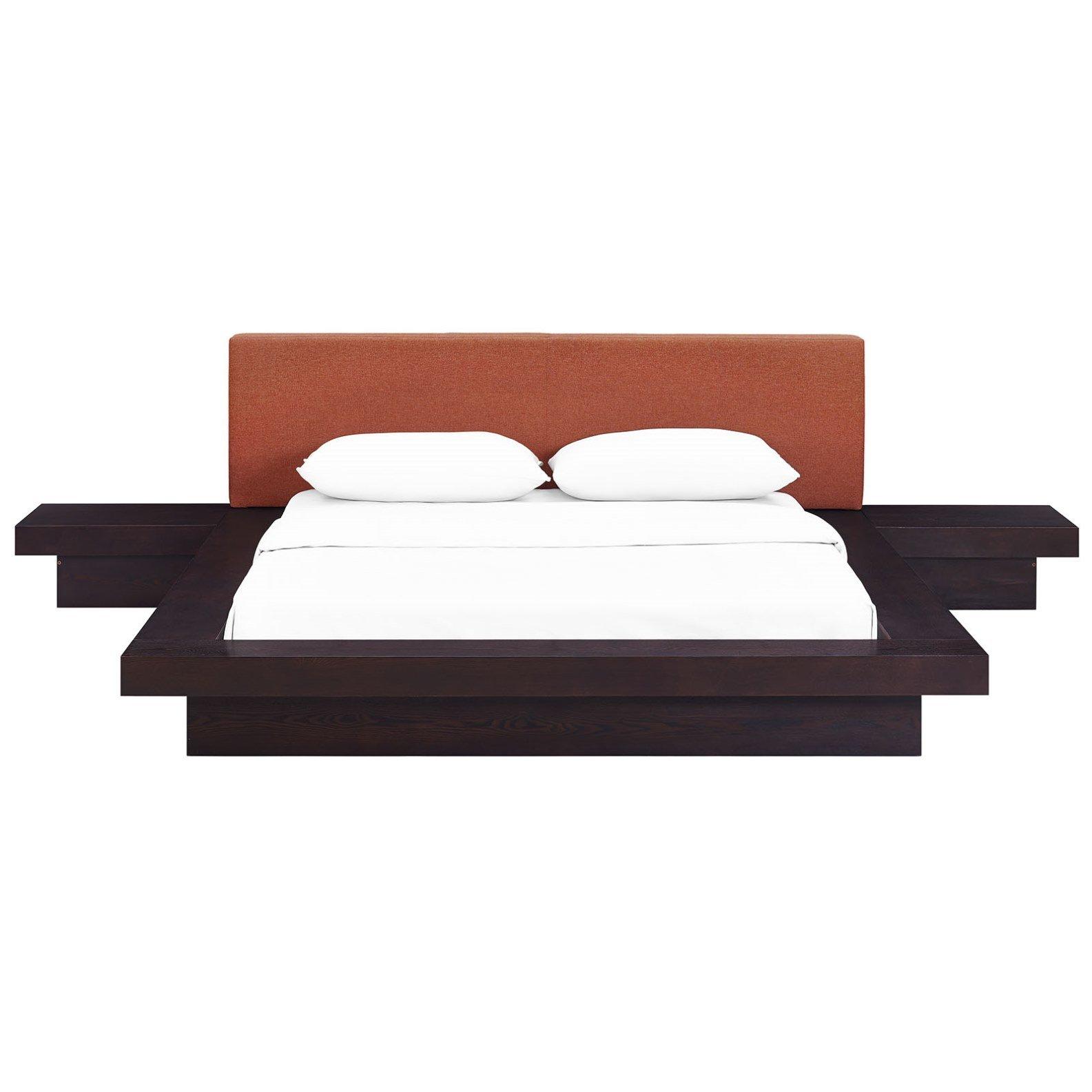 Modern Contemporary Urban Design Three PCS Queen Size Bedroom Bed Set, Orange, Fabric Wood