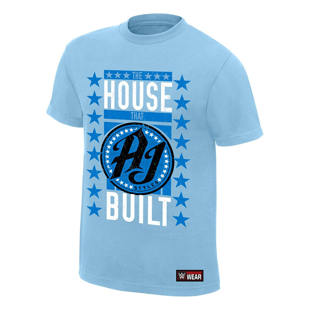 WWE AJ Styles The House That AJ Built Youth T-Shirt Light Blue Medium by WWE Authentic Wear