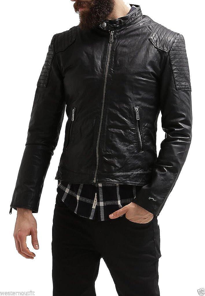 brandMe Mens Genuine Leather Pure Lambskin Biker Jacket MM020