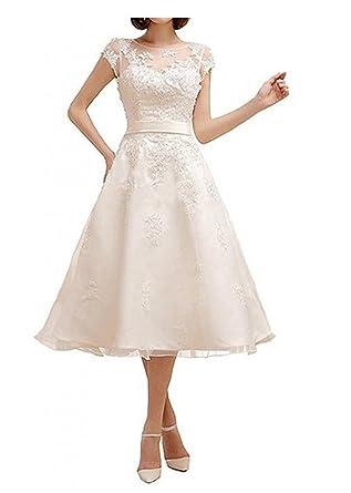 Cloverdresses White Short Lace Wedding Dresses for Bride Tea Length ...