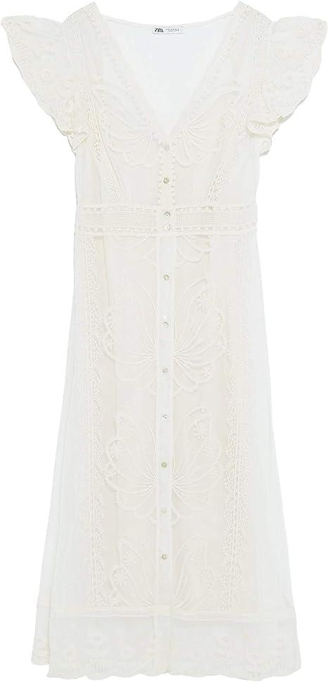 Zara 2712/804/712 Vestido de Encaje para Mujer - Marfil ...