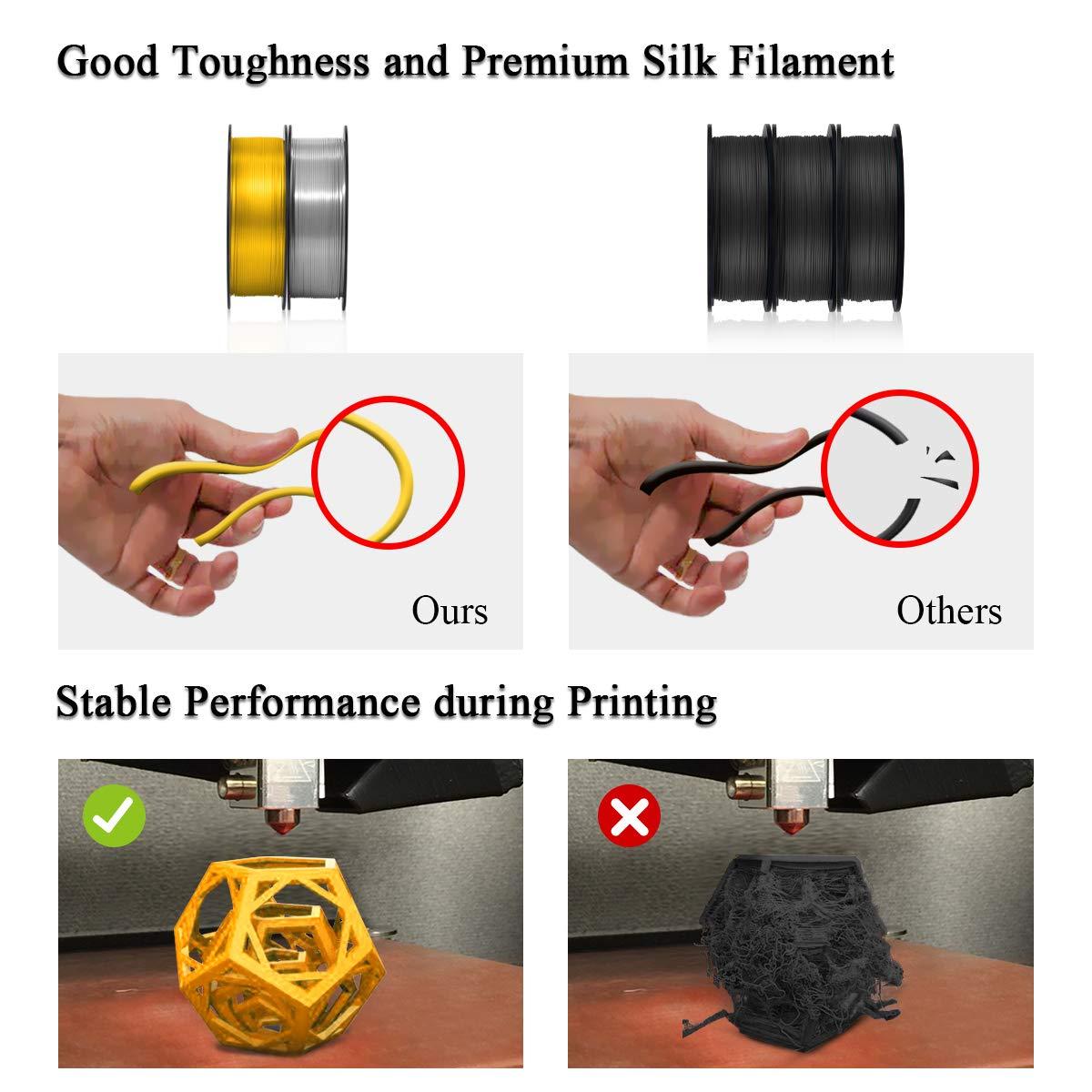 0.02 mm // Shiny Silk White PLA Filament 1.75mm,3D Warhorse PLA 3D Printer Filament,1KG//Spool,Metal Shiny PLA Printing Materials,Dimensional Accuracy