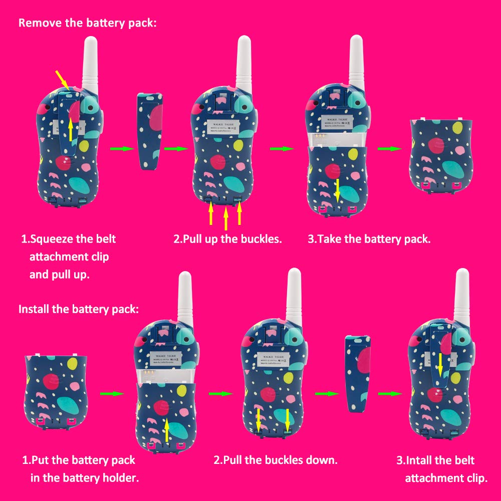 Qniglo Walkie Talkies Kids Adults 22 Channel Long Range 2 Way Radio Rechargeable Walkie Talkies(Blue,2 PCS) by Qniglo (Image #5)