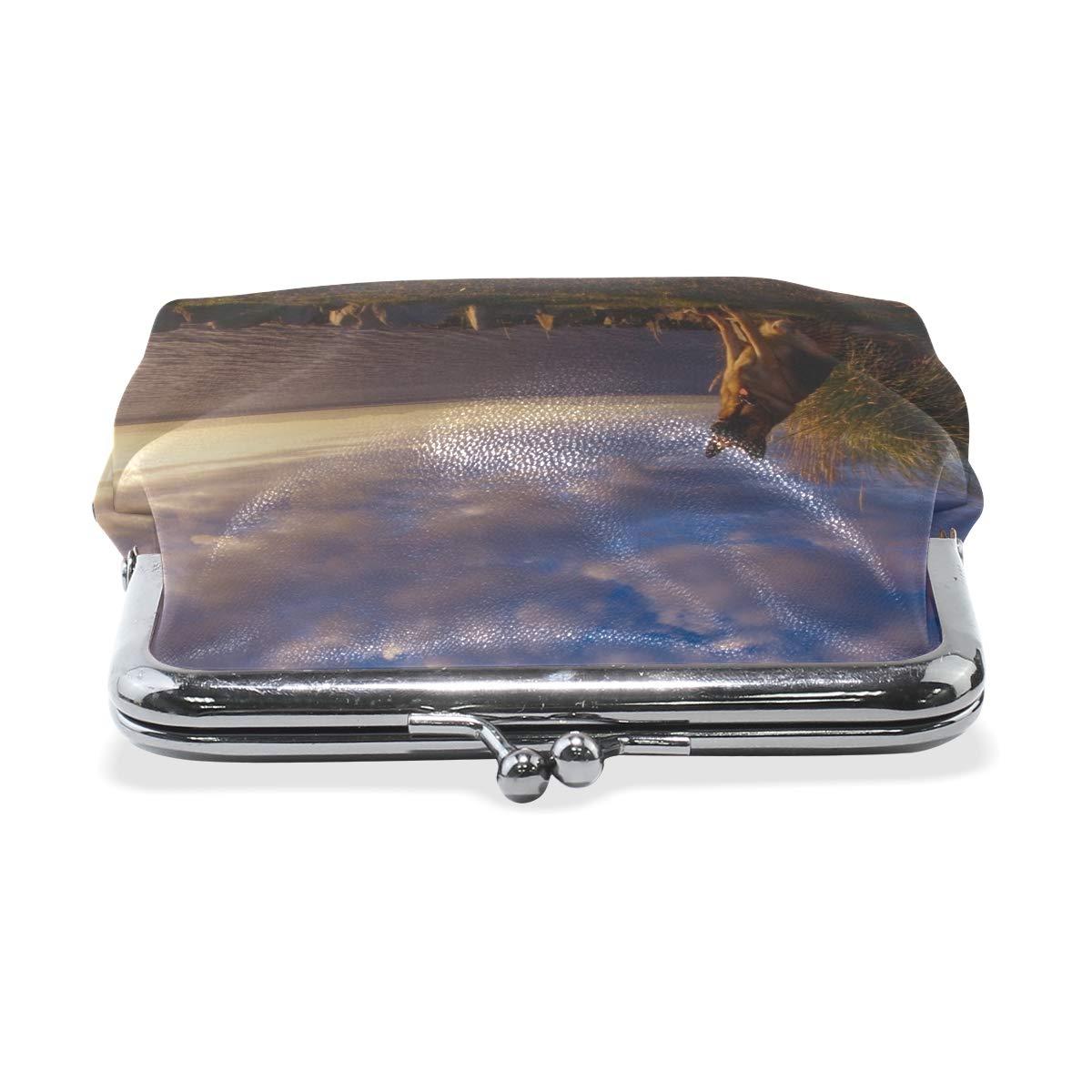 Rh Studio Coin Purse Clasp Closure Dog Sheep Sky Sea Waiting Print Wallet Exquisite Coin Pouch Girls Women Clutch Handbag Exquisite Gift