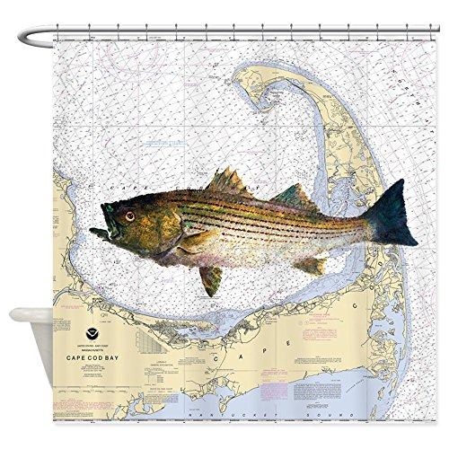 (CafePress Striped Bass Over Cape Cod Bay Decorative Fabric Shower Curtain (69