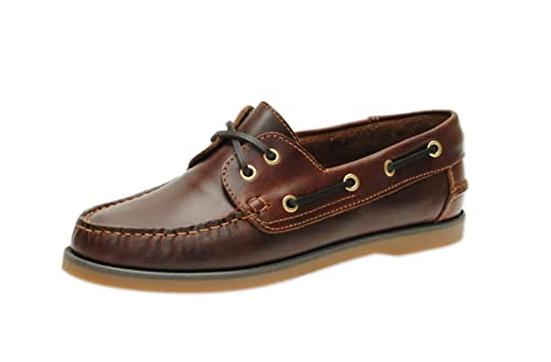 4361aadb7 Jim Boomba Boat Shoe - Deck Shoe Classic Style - Mahogany Brown (UK 4.0)