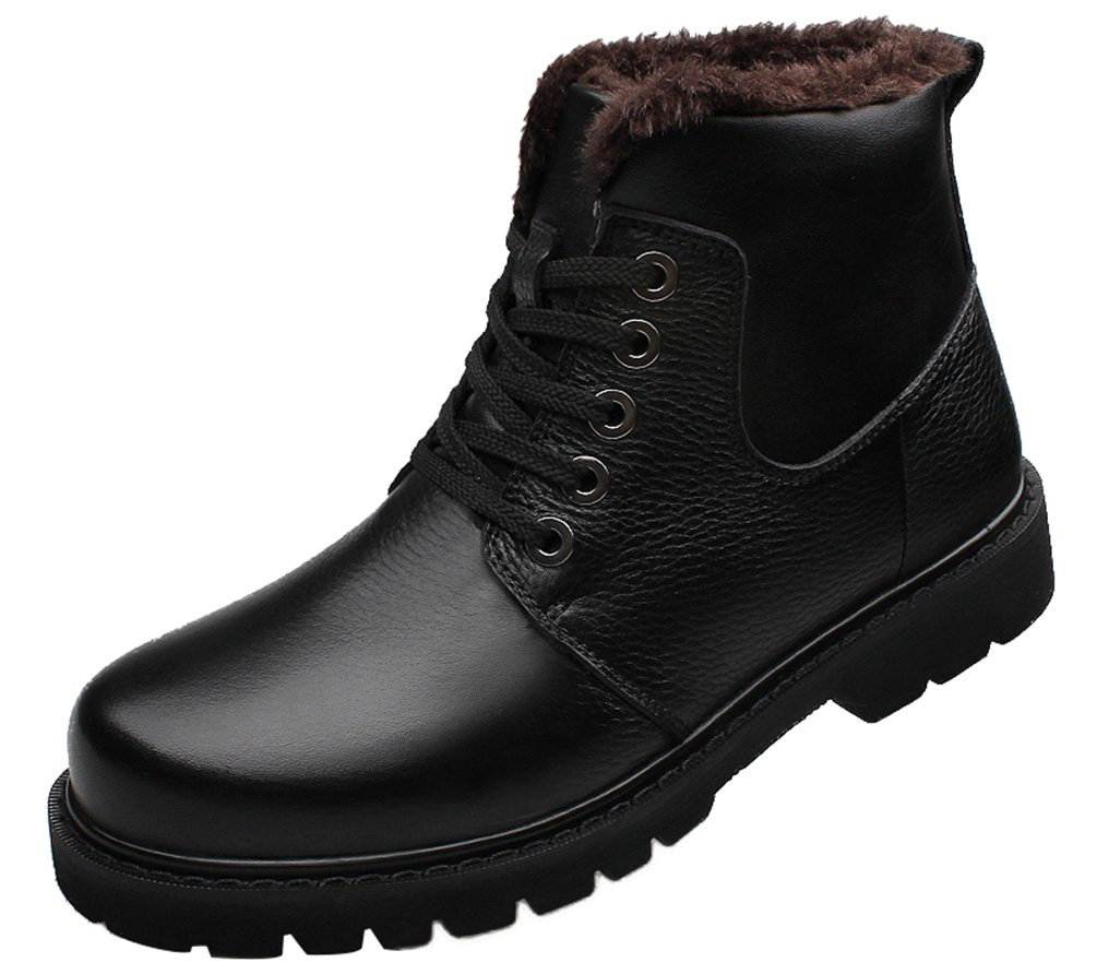 Abby LD-0268 Mens Winter Ankle Boot Plus Velvet Warm Casual Leather High Top Lace Up Warm Wool Working Black US M Size11
