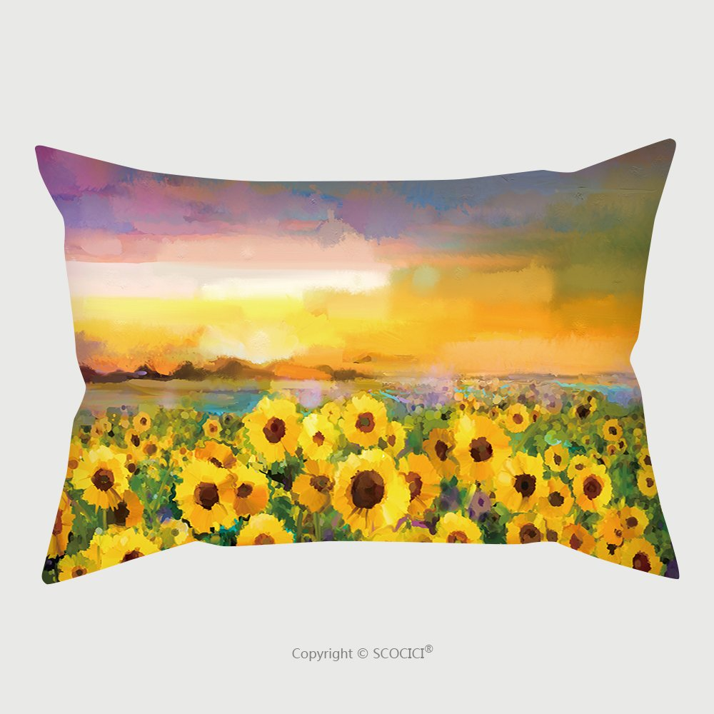 Custom Satin Pillowcase Protector Oil Painting Yellow Golden Sunflower, Daisy Flowers In Fields. Sunset Meadow Landscape With Wildflower, Hill And Sky In Orange, Blue Violet Background. Hand Pa by chaoran
