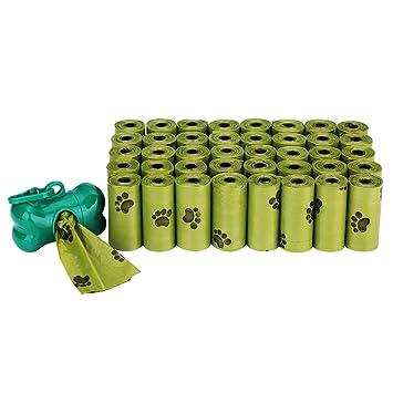 AIXMEET Bolsas biodegradables para Caca de Perro, 40 Rollos (600 Bolsas) Completamente a Prueba de Fugas, Bolsas ecológicas para residuos de Perros, 1 ...