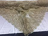 Dream design super Beaded Mesh Lace Fabric Bridal Wedding champagne. Sold By Yard