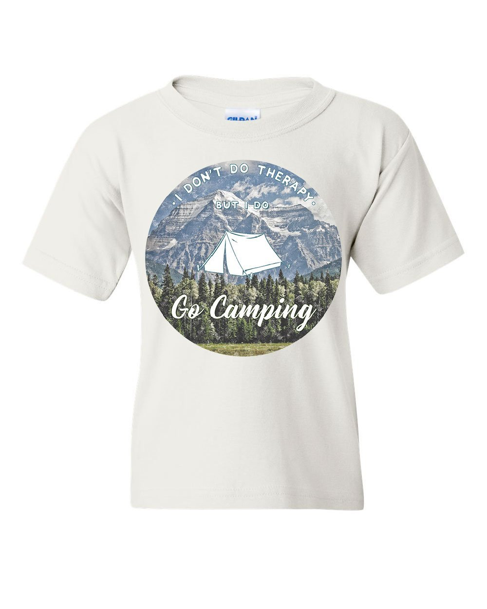 I Go Camping Youth T-Shirt Therapy is Expensive Nature Wildlife Travel Kids Tee White XL