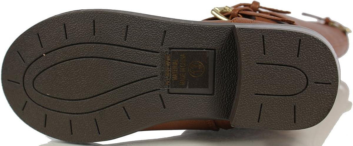 SODA Kids Bio Faux Leather Buckle Knee High Riding Boot 13 M US Little Kid Cognac